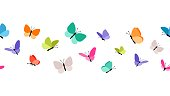 Color flying butterflies seamless pattern