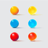 Color glass balls isolated on grey. Vector realistic design element set.