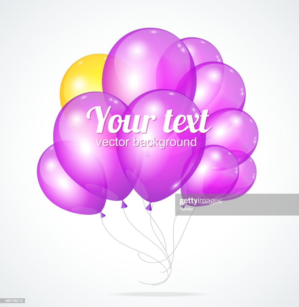 Color glossy violet balloons template for text