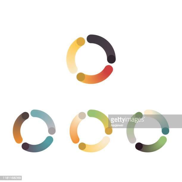 カラー グラデーション ブレンド スタイル カーブ ストライプ アイコン コレクション - ロゴマーク点のイラスト素材/クリップアート素材/マンガ素材/アイコン素材