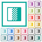 Color gradient flat color icons with quadrant frames