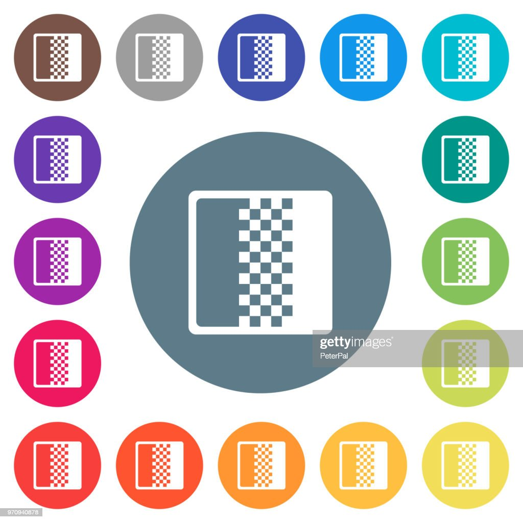Color gradient flat white icons on round color backgrounds