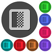 Color gradient icons with shadows on round backgrounds
