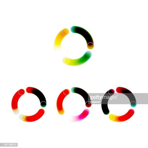 ilustraciones, imágenes clip art, dibujos animados e iconos de stock de color gradiente vivo círculo icono colección - doble exposicion negocios