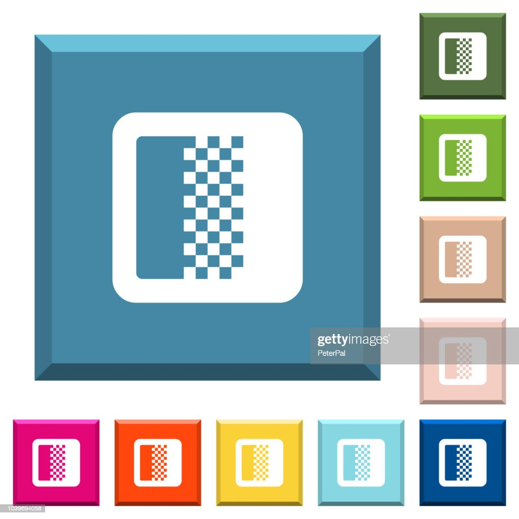 Color gradient white icons on edged square buttons