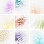 Color Halftone Polka dots Backgrounds Collection