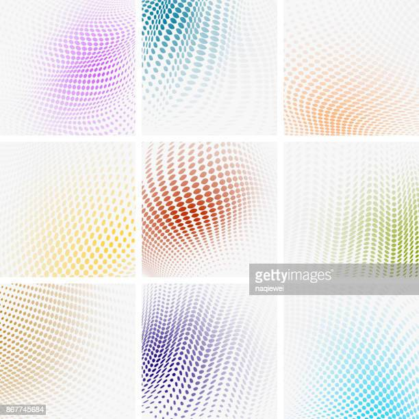 color halftone polka dots backgrounds collection - spotted stock illustrations