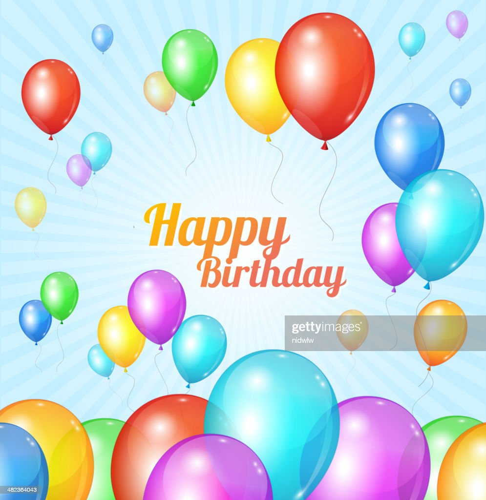 Color Happy birthday card. Balloons fly