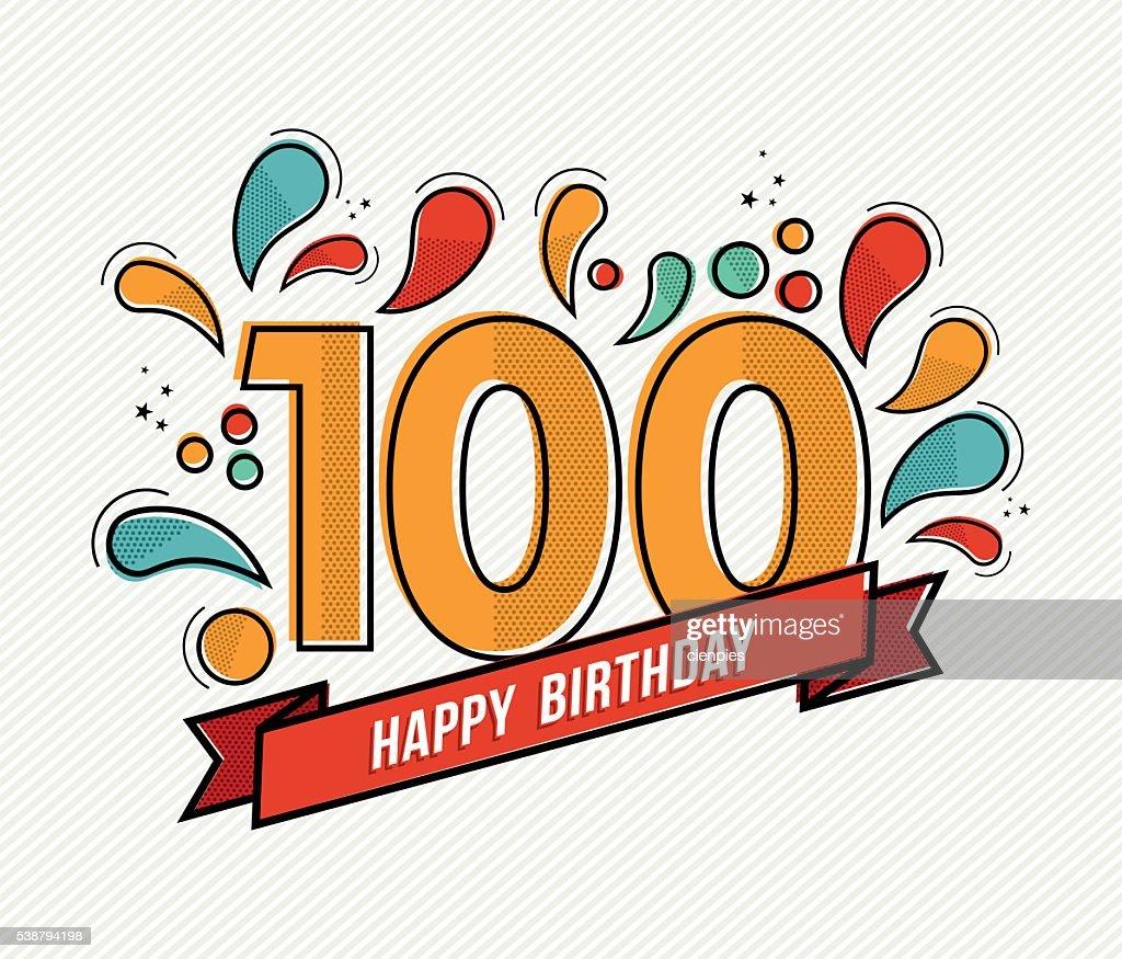 Color happy birthday number 100 flat line design
