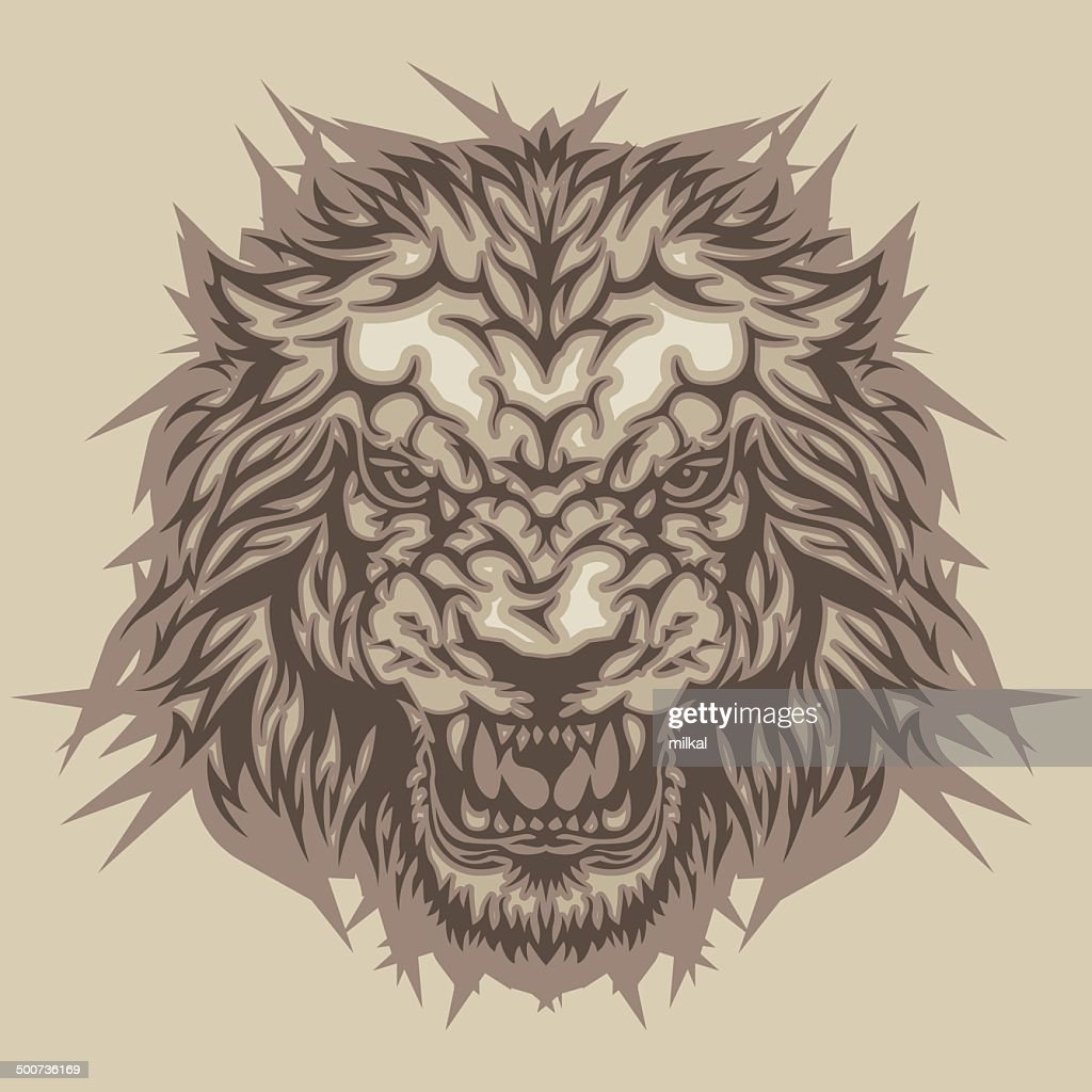 Color head of angry lion