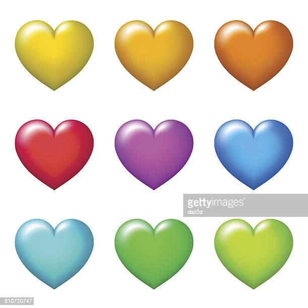 Farbe Herzen auf Weiß
