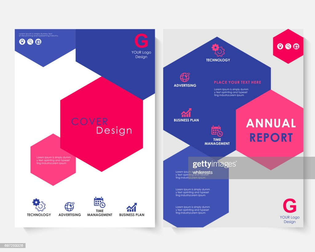Color hexagon annual report cover design template vector. Brochure concept presentation website portfolio. White layout leaflet template. Magazine business advertising set. Poster A4