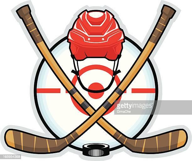 color hockey emblem - hockey stick stock illustrations