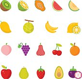 Color icon set - Fruits