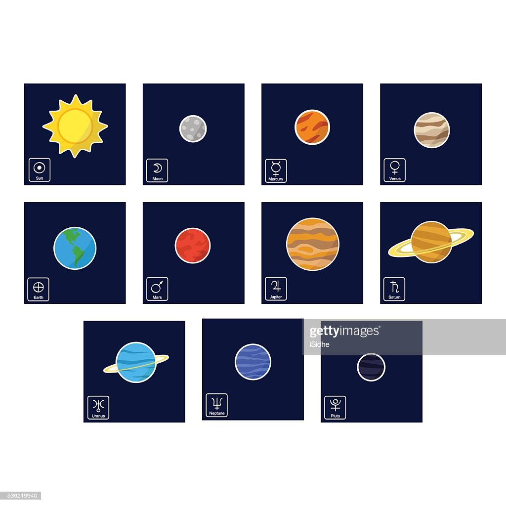 color icon set with Planets and astrology symbols of planets