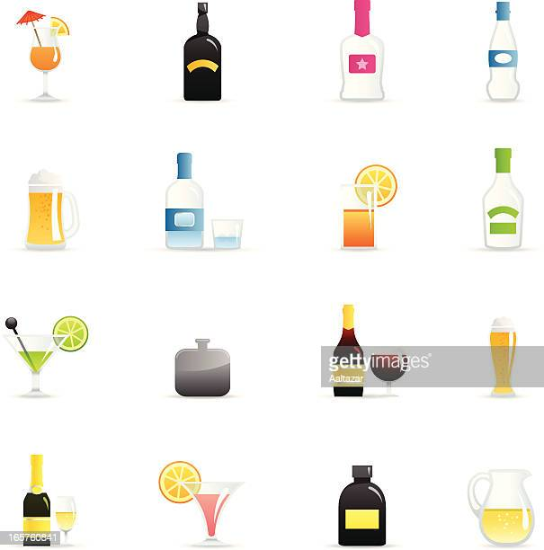 color icons - alcohol - tequila drink stock illustrations, clip art, cartoons, & icons