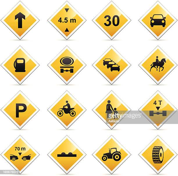 color icons - american road signs - tire vehicle part stock illustrations, clip art, cartoons, & icons