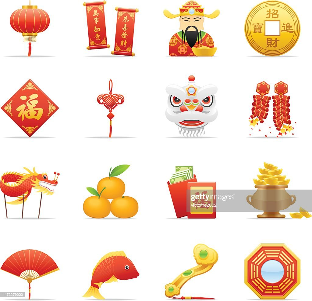 Chinese Calendar Illustration : Color icons chinese new year vector art getty images