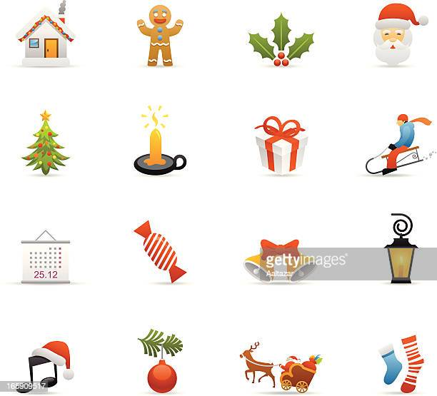 color icons - christmas - gingerbread man stock illustrations