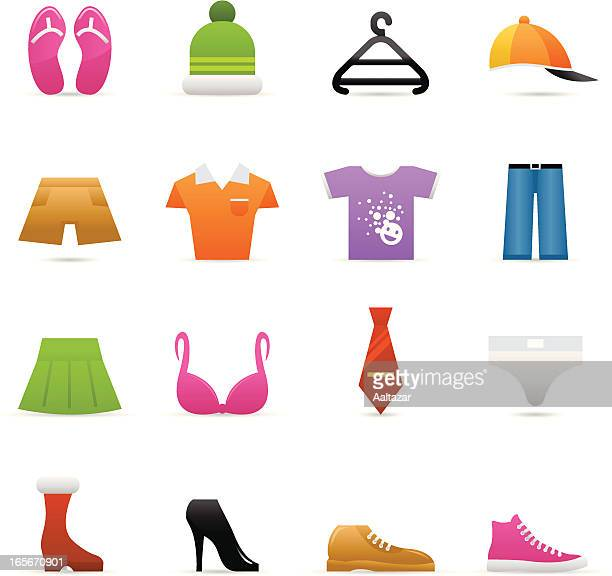 color icons - clothes - satin pants stock illustrations