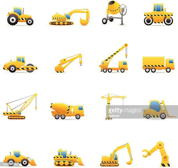 color icons - construction machines - crane construction machinery stock illustrations