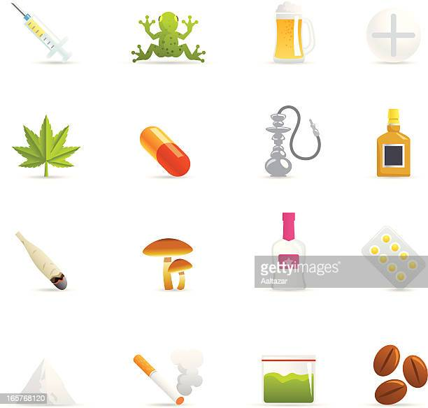 color icons - drugs - recreational drug stock illustrations, clip art, cartoons, & icons