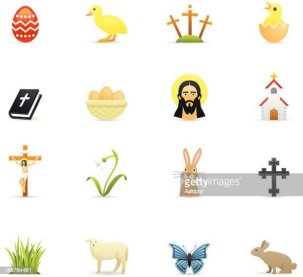 color icons - easter - jesus stock illustrations, clip art, cartoons, & icons