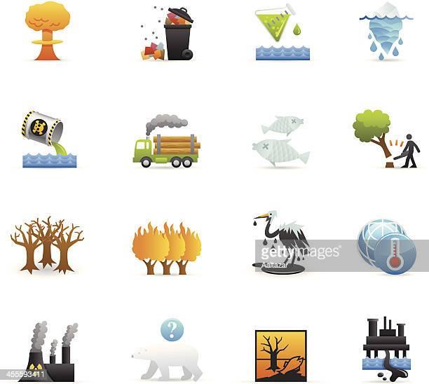 ilustrações de stock, clip art, desenhos animados e ícones de ícones de cor de danos ambientais - desmatamento