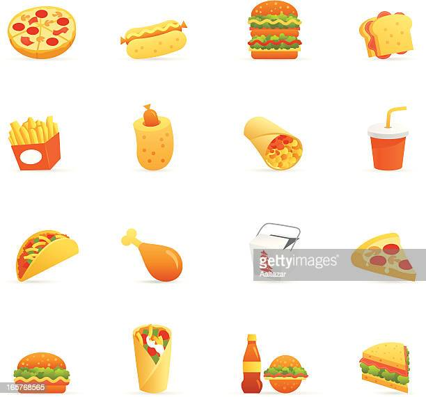 color icons - fast food - nachos stock illustrations