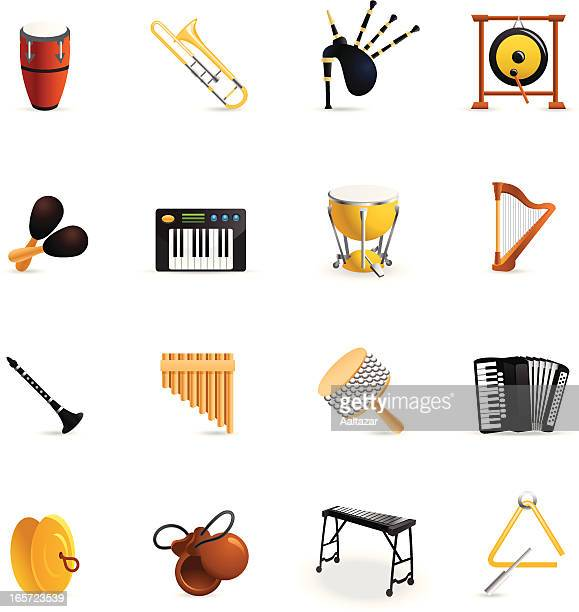 color icons - musical instruments - percussion instrument stock illustrations