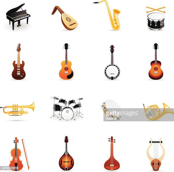 color icons - musical instruments - saxaphone stock illustrations, clip art, cartoons, & icons
