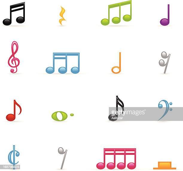 ilustrações, clipart, desenhos animados e ícones de ícones de notas musicais colorido - nota musical