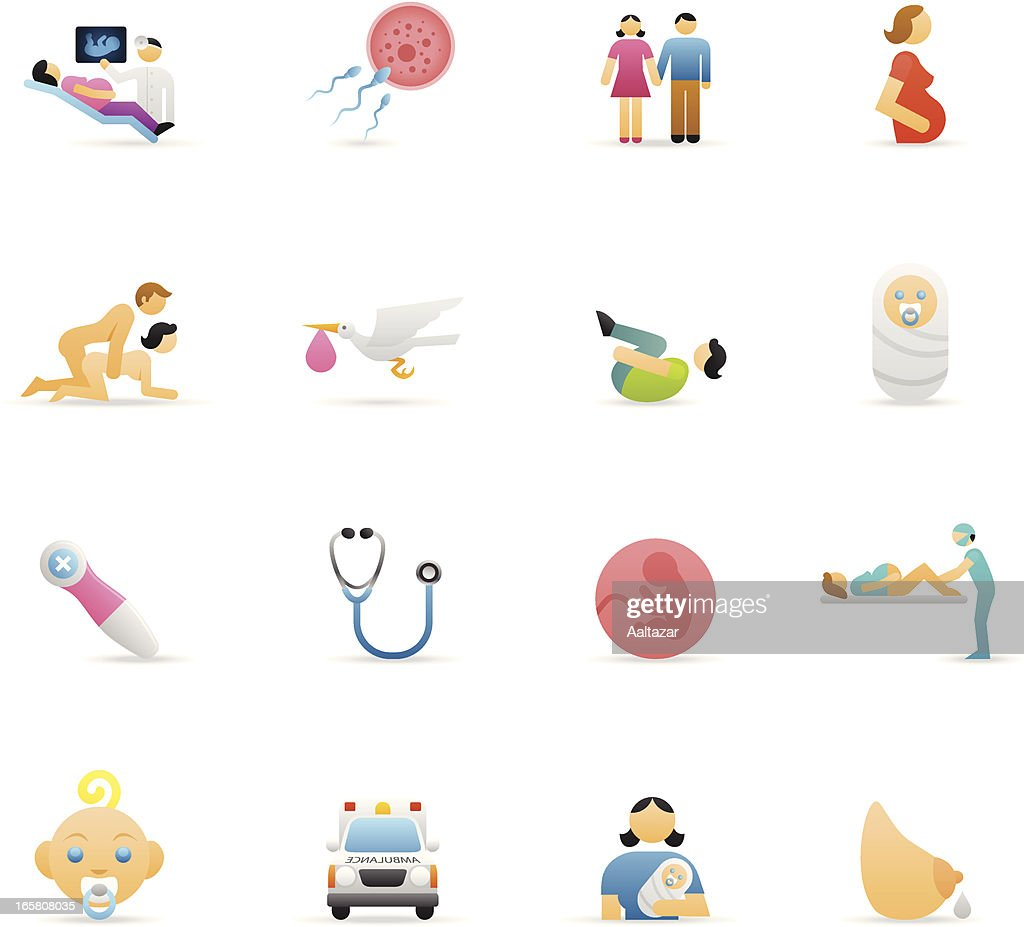 Color Icons - Pregnancy & Childbirth : stock illustration