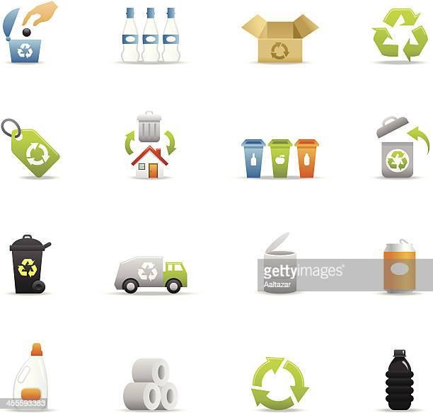 ilustraciones, imágenes clip art, dibujos animados e iconos de stock de color de los iconos-reciclado - tirar basura