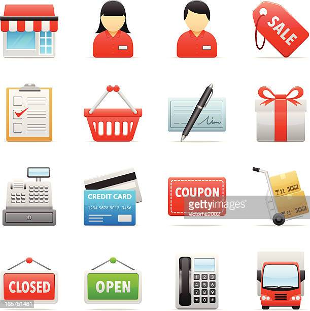 color icons - retail store - closed sign stock illustrations, clip art, cartoons, & icons