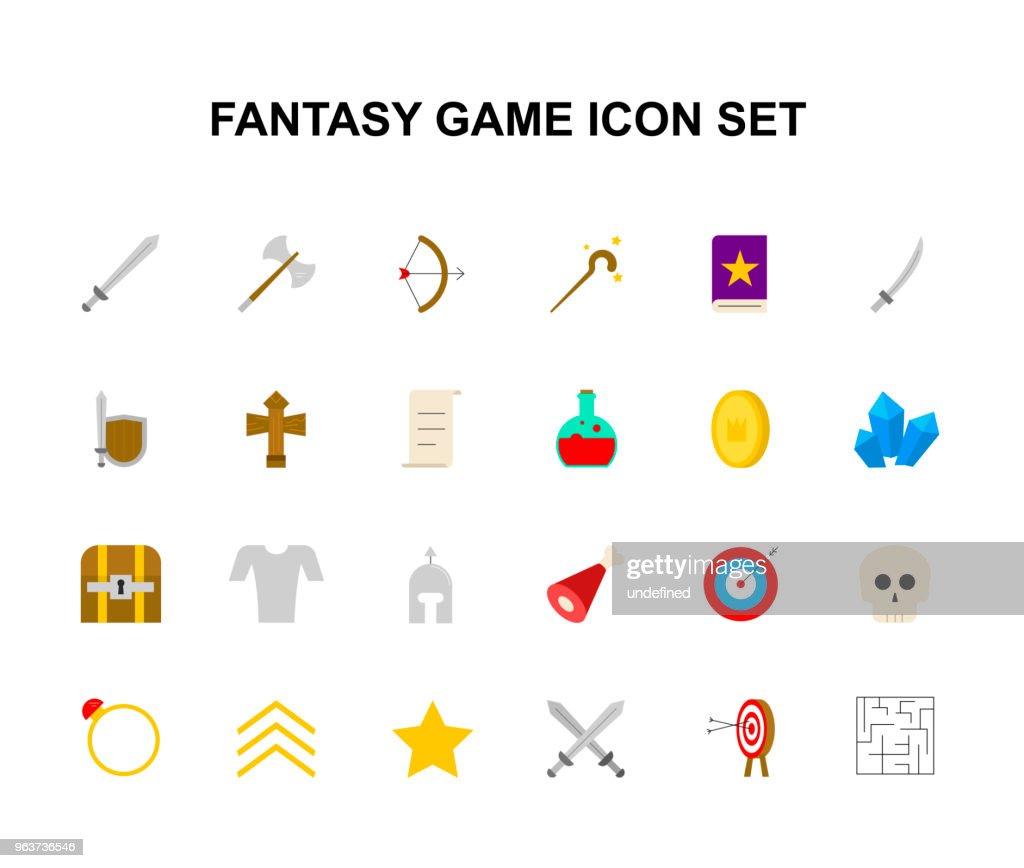 Color icons set. Fantasy game pack. Vector illustration