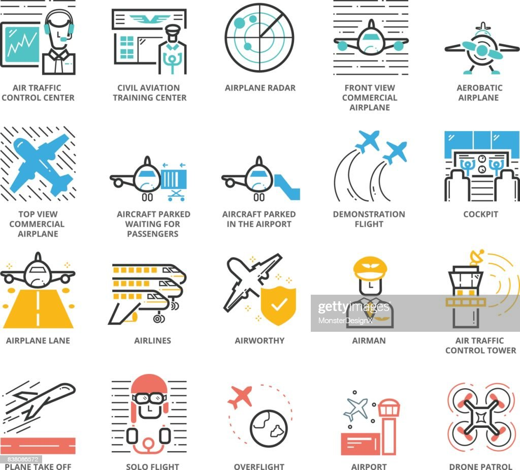 Color Icons set of Aircraft and Airport