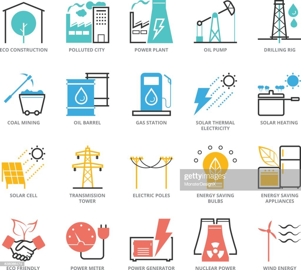 Color Icons set of Energy and Industry