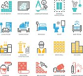 Color Icons set of Interior Design and Building