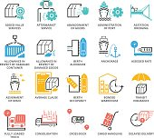 Color Icons set of International Logistic and Ocean Freight