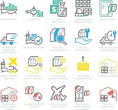 Color Icons set of International Logistic