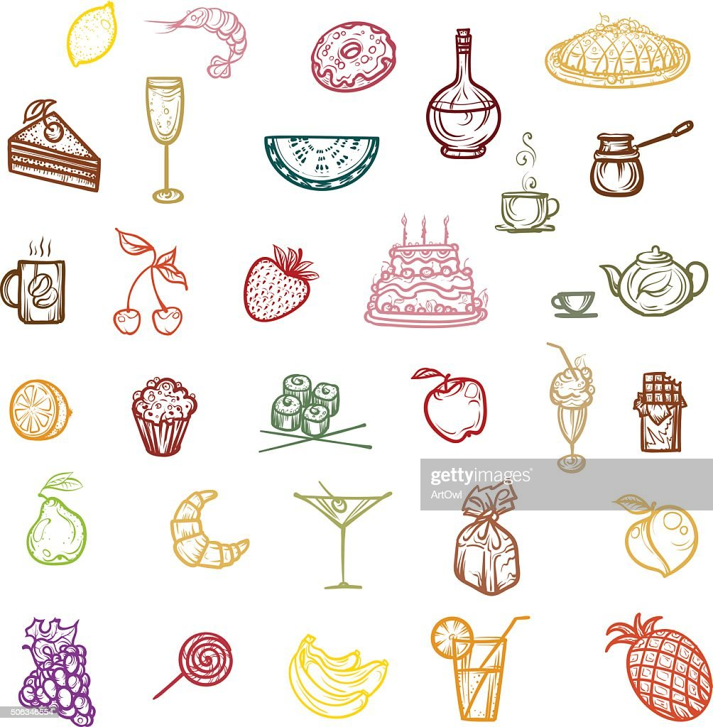Color icons snacks, fruit and dessert.
