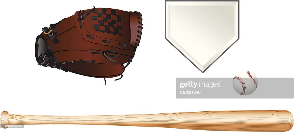 Color illustration of baseball equipment on white background