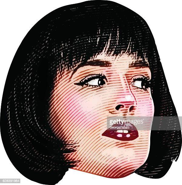 color illustration of woman's face with a suspicious expression - the grass is always greener stock illustrations, clip art, cartoons, & icons
