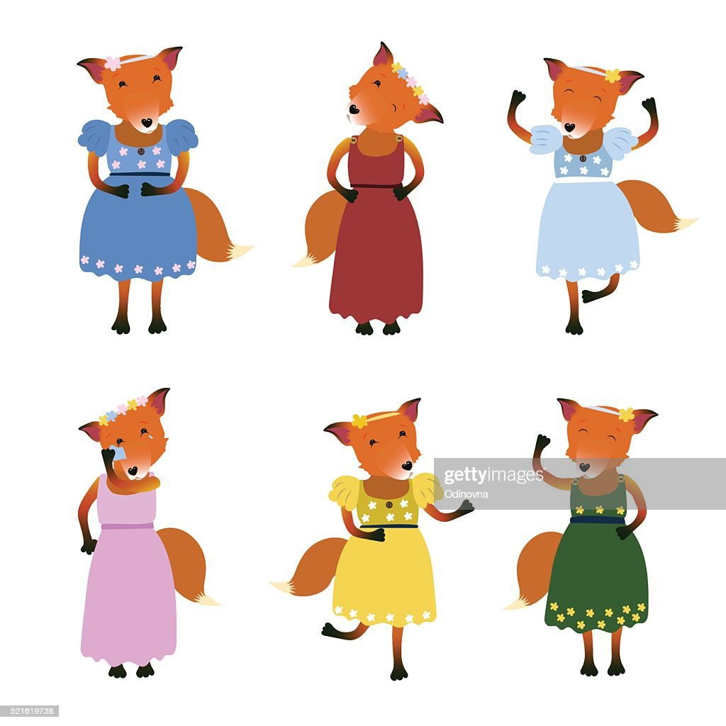color illustration set of red fox in dress
