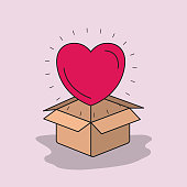 color image background heart coming out of cardboard box