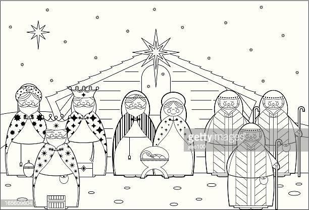 ilustraciones, imágenes clip art, dibujos animados e iconos de stock de color in nativity scene barn - nacimiento de navidad