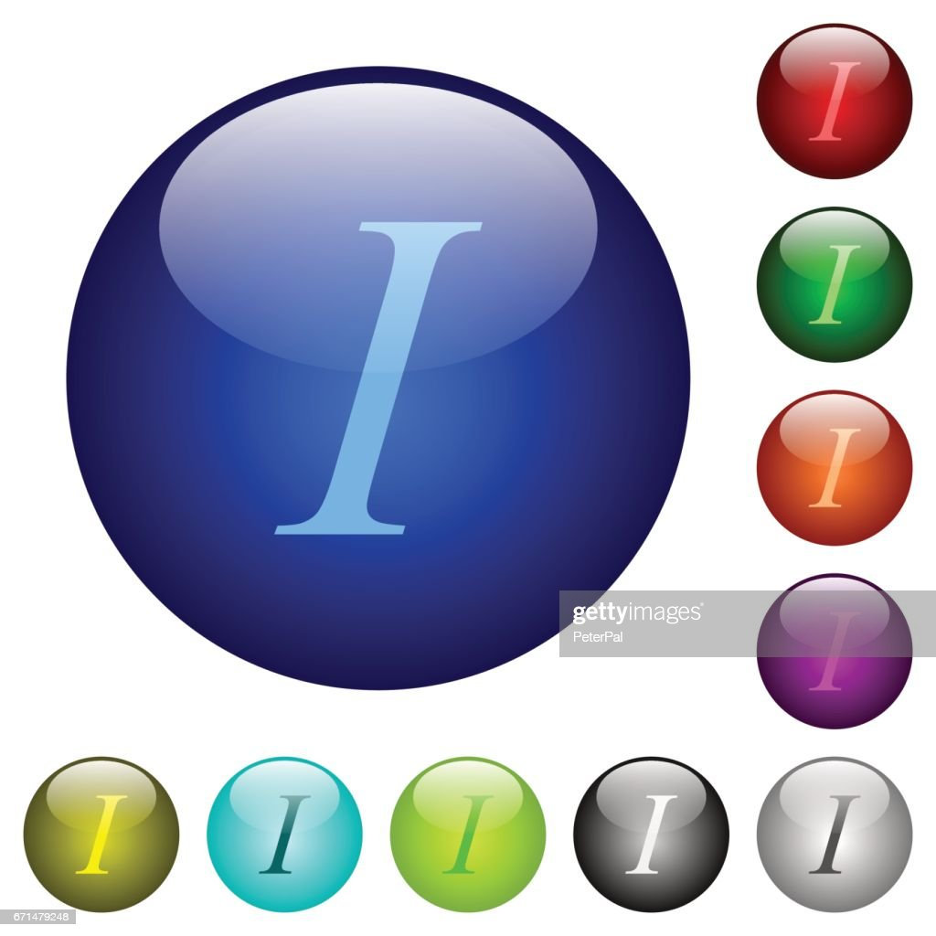 Color italic font type glass buttons