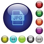 Color JPG file format glass buttons