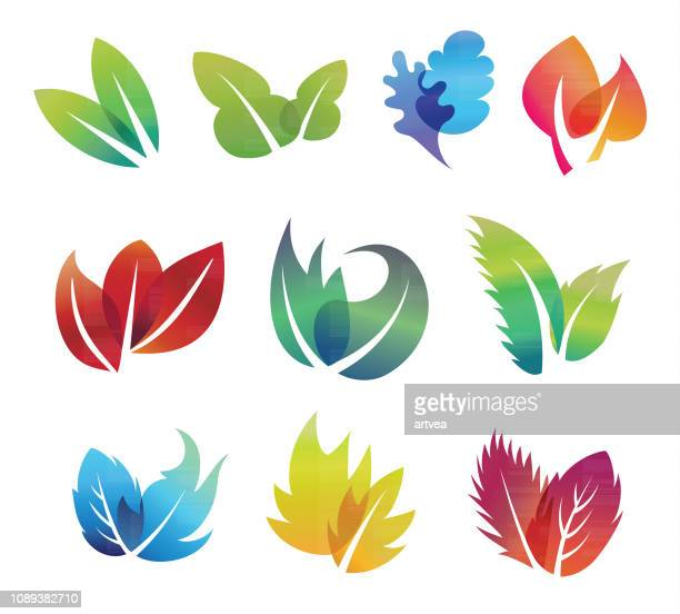 color leaves set - mint leaf culinary stock illustrations, clip art, cartoons, & icons
